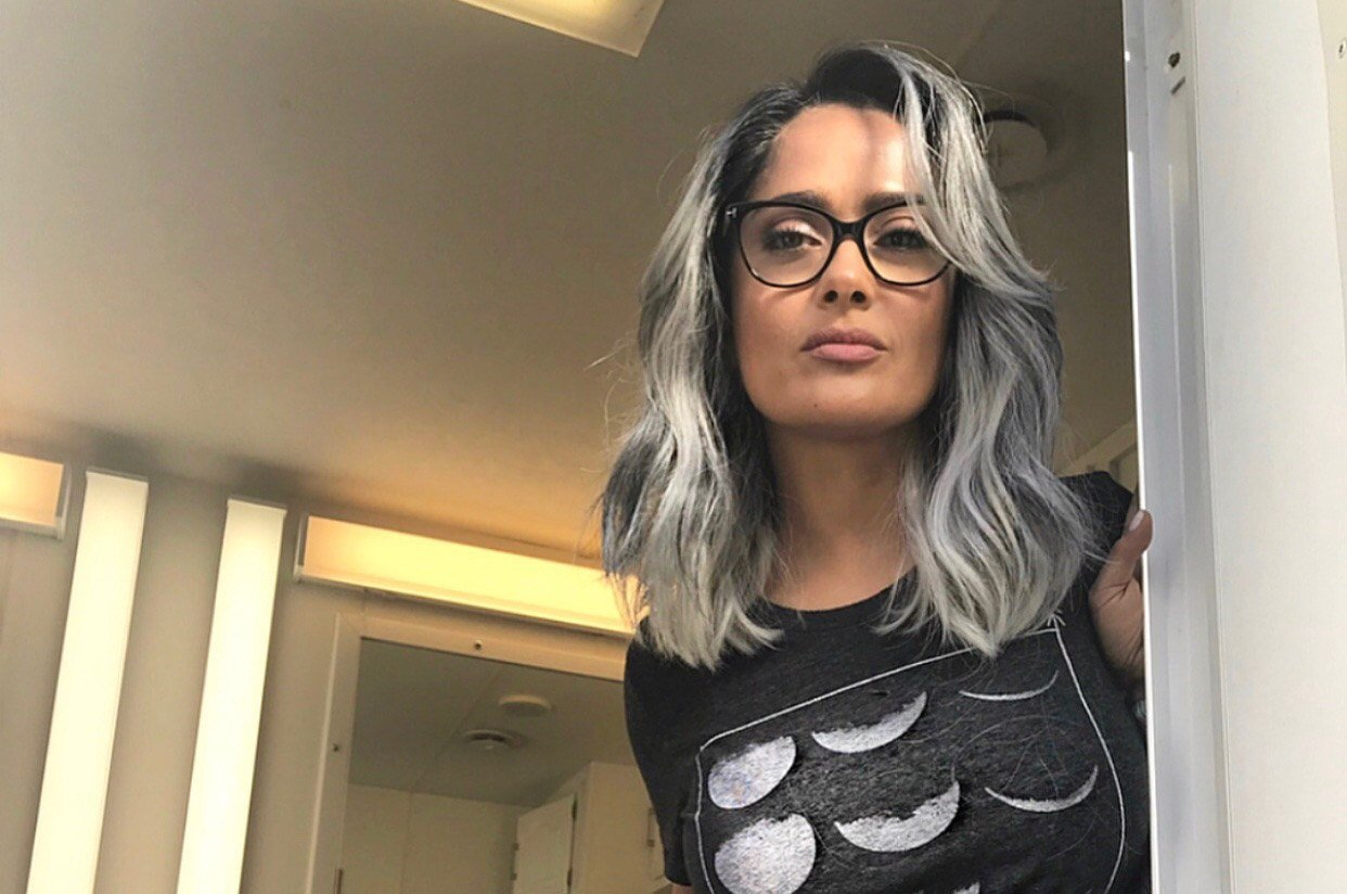 Hair Style Reddit: Salma Hayek Dons Gray Hair For New Movie And Looks